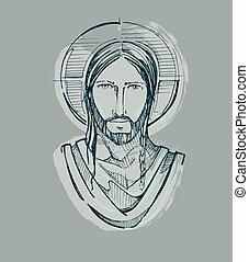 Jesus stilles Gesicht.