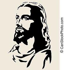 Jesusgesicht Silhouette.