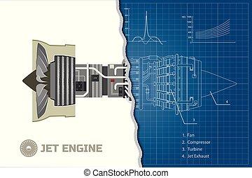 Jet-Motor im Umriss. Industrieplan