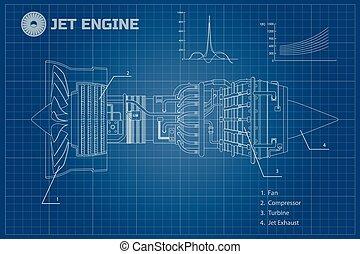 Jet-Motor. Industrievektor Blaupause