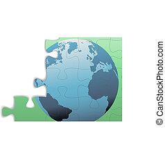Jigsaw Puzzle Erde östliche Hemisphäre europe Globus.