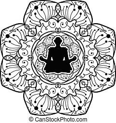 joga, monochrom, mandala, kunst, symbol