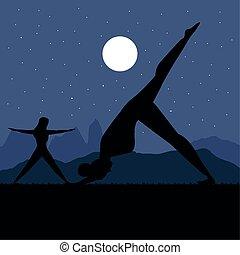joga, nacht, silhouette, frauen