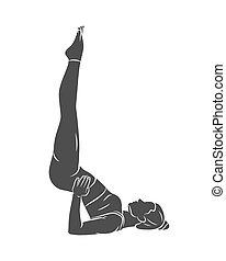 joga, oder, frau, engagiert, übungen, junger, pilates