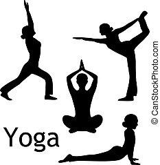 joga, posen, vektor, silhouette