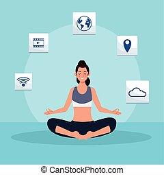 joga, quarantäne, frau, online, üben