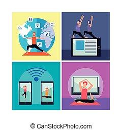 joga, quarantäne, leute, übung, online, üben