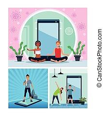 joga, quarantäne, leute, übung, zwischenrassisch, online, üben