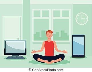 joga, quarantäne, online, üben, mann