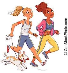 jogging, lustiges, zwei, dog., mädels, karikatur, zeichen