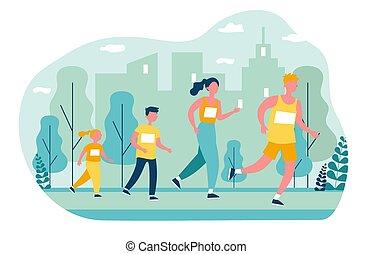 jogging, park, familie, stadt