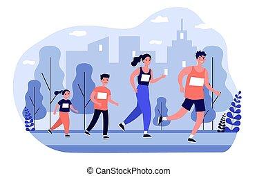 jogging, parken stadt, familie