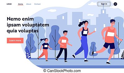jogging, stadt- park, familie