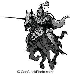 Joustder Ritter Maskottchen auf Pferd