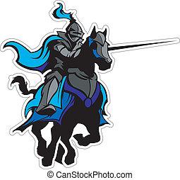 Jousting Blue Knight Maskottchen auf Pferd
