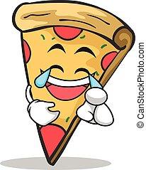 Joy Face Pizza Charakter Cartoon.
