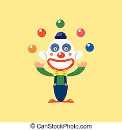 Joyful Clown jonglieren.