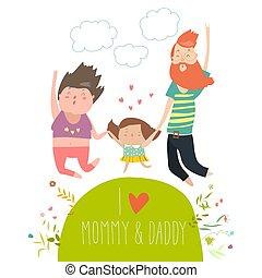 Joyful Familie springt. Dad Mom und Tochter, die Händchen halten, sind gesprungen