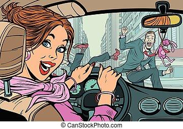 Joyful Woman Fahrer, Unfall auf der Straße mit Fußgänger