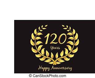 jubiläum, kranz, happy120th, gold, lorbeer