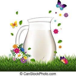 Jug mit Milch und Gras und Blumen weißer Hintergrund.