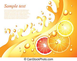Juicy Citrus spritzt Vektor-Hintergrund