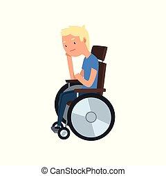 Junge behinderte Menschen sitzen im Rollstuhl Vektor Illustration auf weißem Hintergrund.