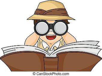 Junge Buch-Binoculars Illustration.
