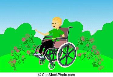 junge, camping., lächelt, behinderten, sitzt, wheelchair.