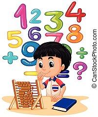 Junge, der Mathe macht mit Abacus.