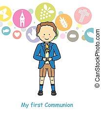 Junge erste Kommunion.