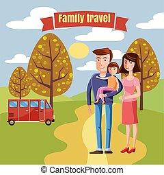Junge Familie mit Kleinkind wandern im Park draußen, Landschaft Retro Cartoon Vektor Illustration.