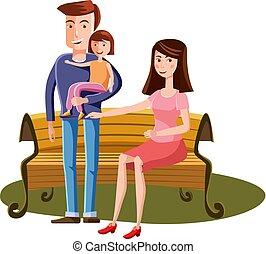 Junge Familie mit Kleinkind wandern in der Parkbank, Landschaft Retro Cartoon Vektor Illustration.