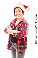 Junge Frau mit Hut.