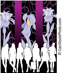 Junge Frauen und Irisblüte