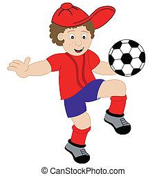 junge, fußball, karikatur, spielende