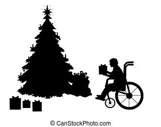 junge, geschenk, besitz, weihnachten, silhouetten, baum, rollstuhl