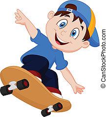 junge, glücklich, karikatur, skateboard