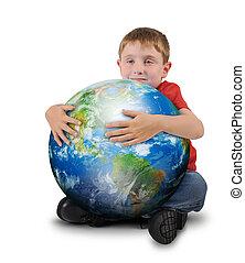 Junge hält Pflanzen Erde auf weißem Hintergrund.