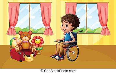 Junge im Rollstuhl.