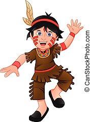 junge, kostüm, indianer, tragen