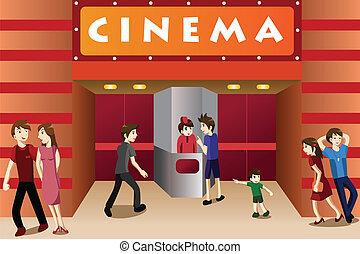 Junge Leute, die vor einem Kino rumhängen