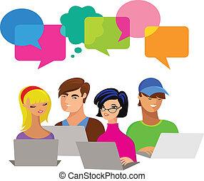 Junge Leute mit Sprachblasen und Computern