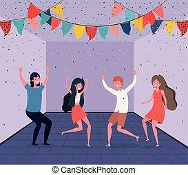 Junge Leute tanzen im Zimmer.