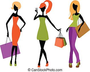 Junge Mädchen einkaufen