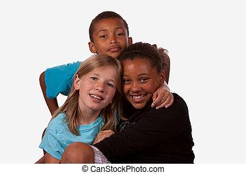 junge, mädels, drei, zwei, gemischter, porträt, kinder, eins, ethnicity