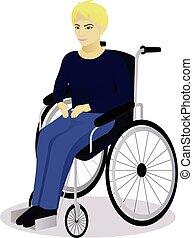 Junge mit Behinderungen im Rollstuhl.