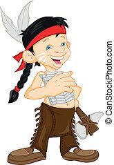 Junge mit indianischem Kostüm.