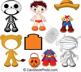 Junge mit Kostümen für Halloween-P