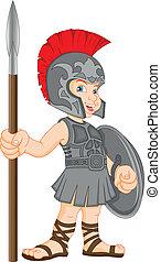 Junge mit römischem Soldatenkostüm.